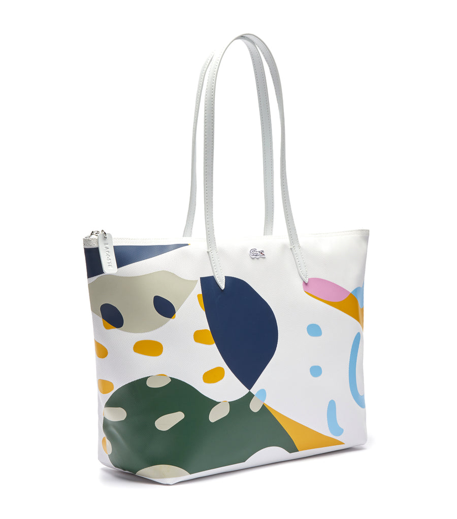 lacoste women's l12.12 graphic design large shopping bag - blanc croc multico