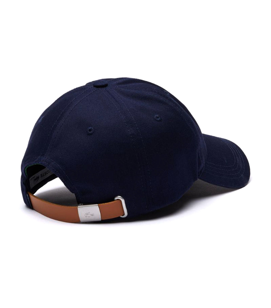 Men's Contrast Strap and Oversized Crocodile Cotton Cap Navy Blue