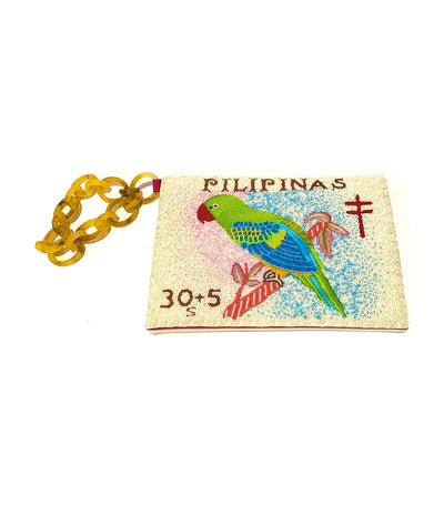 Filipinas Stamp Clutch Beige