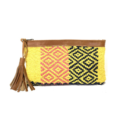 Handloom Pouch Yellow/Blue/Tan