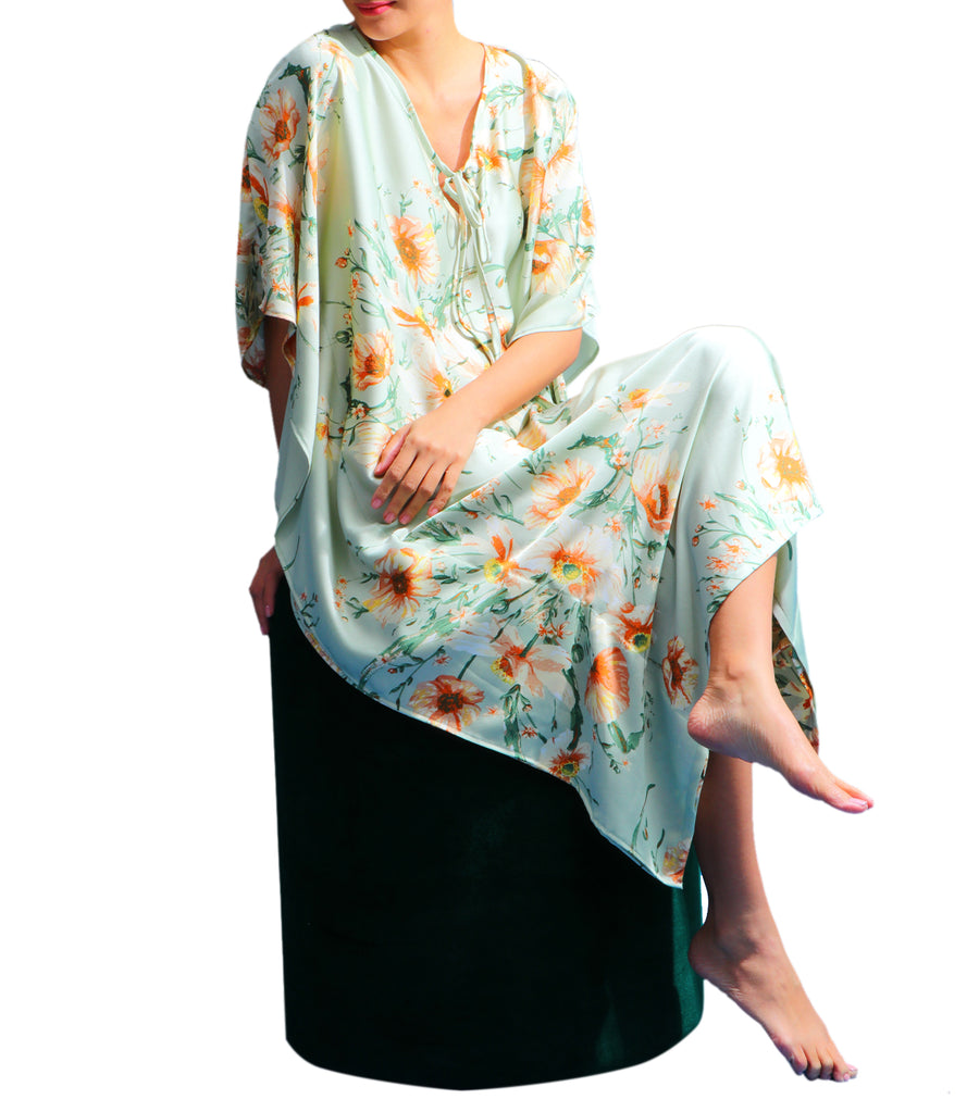 Keisha Floral Print Long V-Neck With Neck Tie Loop Caftan Mint