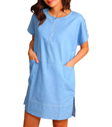 Lira Short Sleeve Zip Front Dress with Front Pockets Chambray