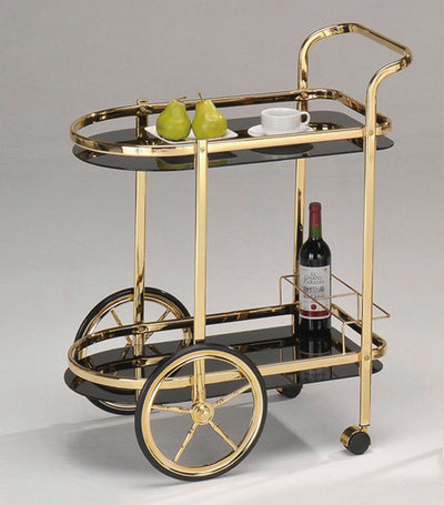 Sonnac Black & Gold Round Edge Serving Cart