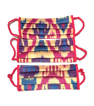Pleated Ikat Mask Purple - 1 Piece