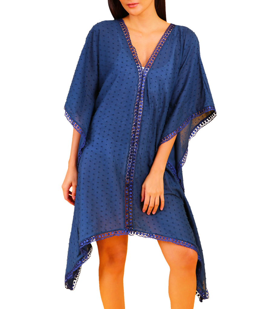 Bae Deep V-Neck Cover-Up with Trim Detail Navy Blue