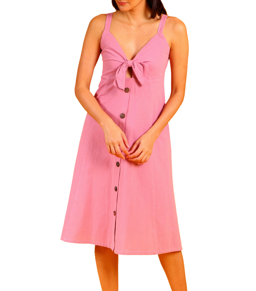 Tosca Button Down With Front Tie Dress Pink