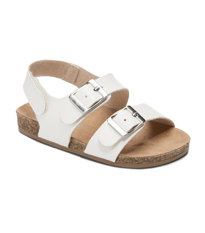 old navy toddler faux-leather double-buckle sandals - white lilies
