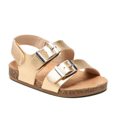 old navy toddler faux-leather double-buckle sandals - gold metallic