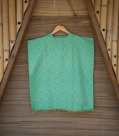 wvn home textiles handwoven swim poncho with fringe - green