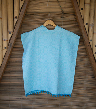 wvn home textiles handwoven swim poncho with fringe - blue