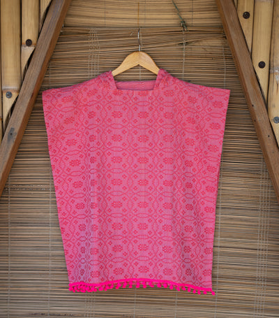 wvn home textiles handwoven swim poncho with fringe - pink