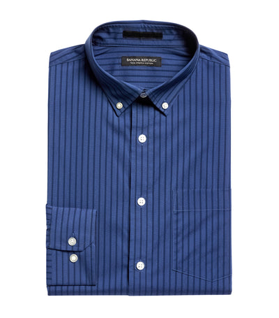 Slim-Fit Tech-Stretch Cotton Shirt Navy Stripes