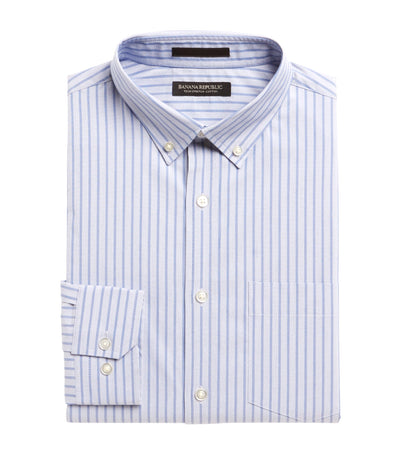 Slim-Fit Tech-Stretch Cotton Shirt Light Blue Stripes