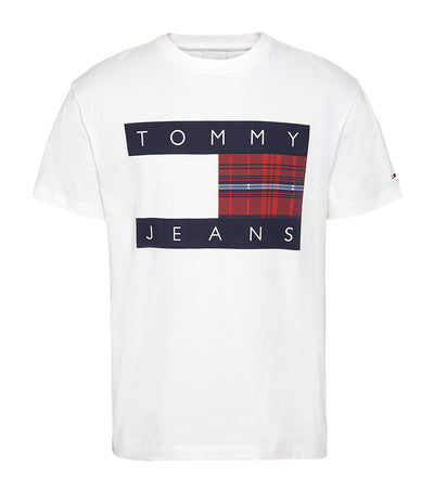 TJM Plaid Centre Flag Tee in White