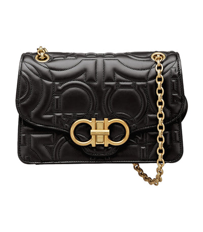 Quilted Gancini Flap Bag Large Black