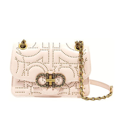 Quilted Gancini Flap Bag Bone