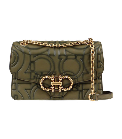 Quilted Gancini Flap Bag Khaki Green