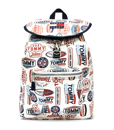 Tommy Jeans Heritage Print Backpack White