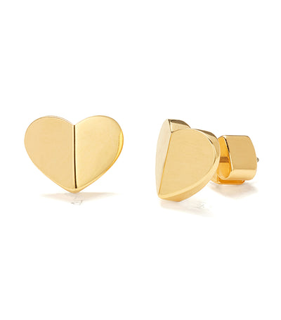 Heritage Spade Small Heart Studs Gold
