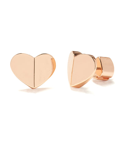 Heritage Spade Small Heart Studs Rose Gold