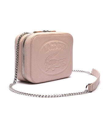 Women's Croco Crew Zip Shoulder Bag Rose Dust