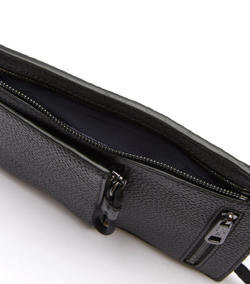 Men's Soft Mate Leather Zip Necklace Wallet Noir