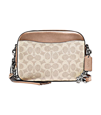 Camera Bag Signature Coated Canvas and Sand Taupe
