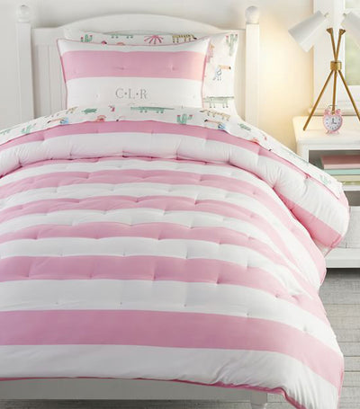 pottery barn kids pink rugby stripe comforter