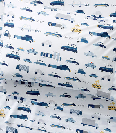 pottery barn kids noah transportation glow-in-the-dark sheet set