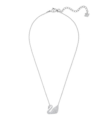 Swan Necklace White, Rhodium Plated