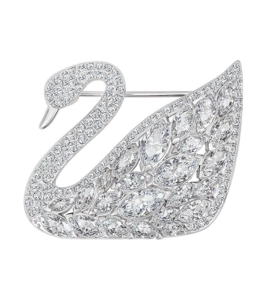 Swan Lake Brooch White, Rhodium Plated