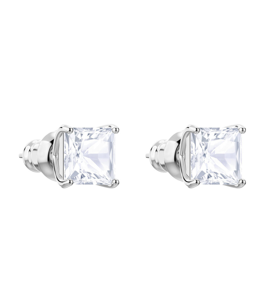 Attract Stud Pierced Earrings White, Rhodium Plated