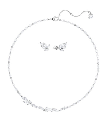 Louison Necklace and Earrings Set White Rhodium Plated