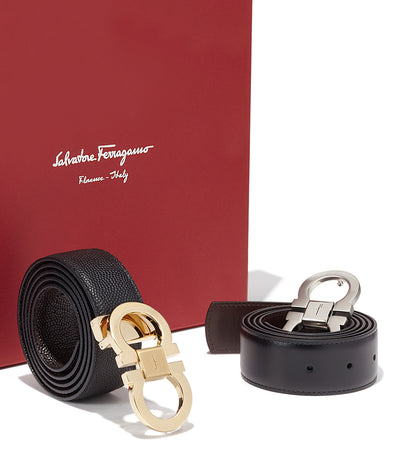 Adjustable Gancini Belts Gift Box Black/Chocolate