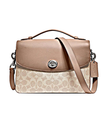 Cassie Signature Coated Canvas Crossbody Bag Sand Taupe