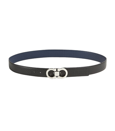 Reversible and Adjustable Gancini Belt Black/Fjord blue