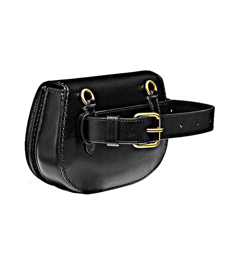Leather Saddle Belt Bag Black