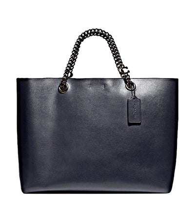 Signature Chain Central Leather Tote Midnight Navy