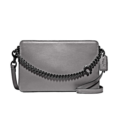 Signature Chain Leather Crossbody Heather Gray