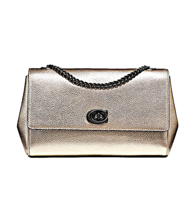 Cam Chain Leather Crossbody Clutch Platinum