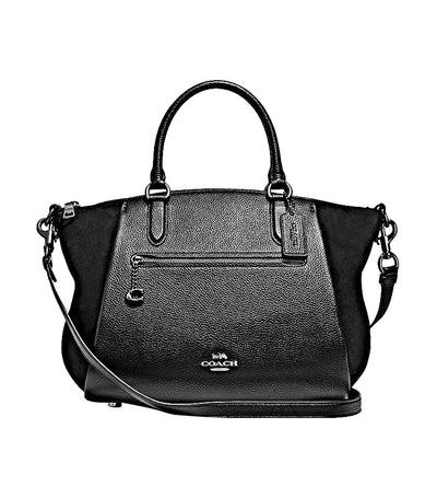 Elise 29 Mixed Leather Satchel Gunmetal and Black