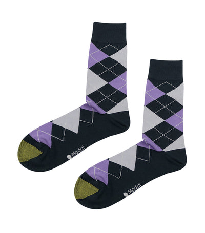 gold toe elements modal argyle dress socks violet