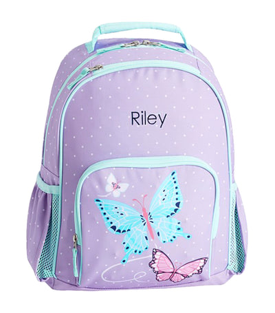 pottery barn kids mackenzie aqua lavender pretty butterflies light-up backpack large