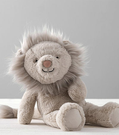 pottery barn kids taupe lion critter plush small