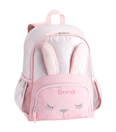 pottery barn kids mackenzie pink shine bunny critter backpack - large