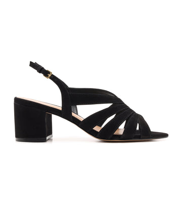 Low Block Strappy Sandal Black