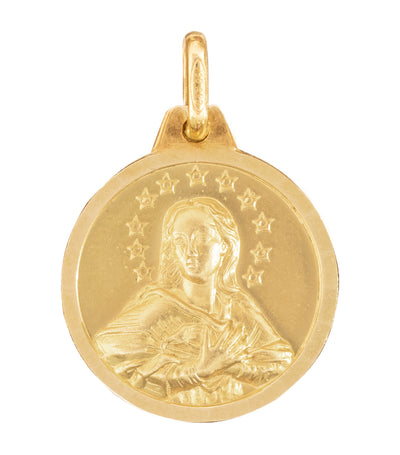 argyor 18k yellow gold medal immaculate conception 18mm pendant