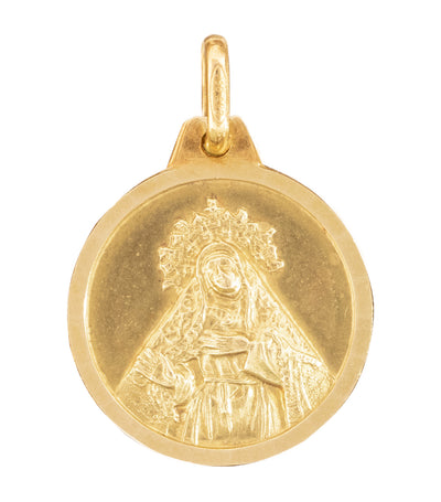 argyor 18k yellow gold medal st. therese 16mm pendant