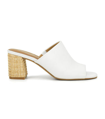 Erie Block Heel Mules White
