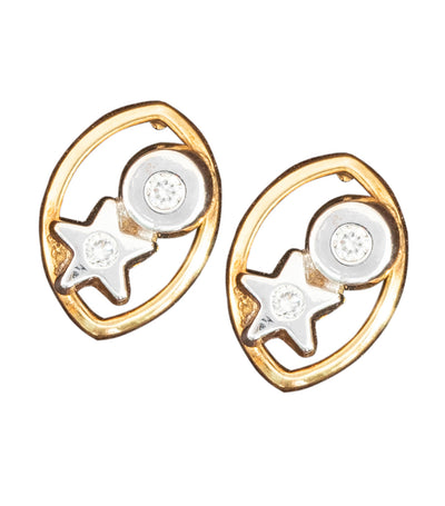 Aguilar de Dios Circle and Star Baby Earrings 18k Yellow Gold